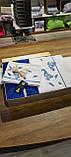 Комплект Постельное Белья С Сатиновой Простыню И Вязаным Покрывалом-Пледом Евро Размер Турция ELITA Синий, фото 4
