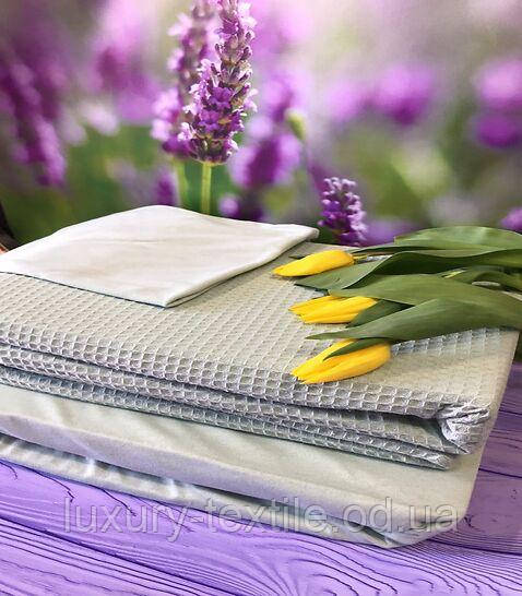 Комплект Постельного Белья С Простыню На Резинке Вафельным Покрывалом - Пледом Турция MODALITA Серый