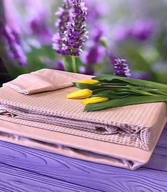 Комплект Постельного Белья С Простыню На Резинке Вафельным Покрывалом - Пледом Турция MODALITA Пудра