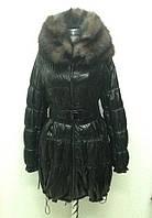 Кожаное пальто женское черное на заячьей подстежке, фото 1