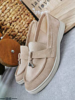 Женские замшевые туфли лоферы 36-40 р бежевый, фото 1