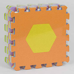 """Килимок-пазл EVA 33001 - НКР 028 """"Геометричні фігури"""" (24) масажний, 9шт в упаковці, 30х30см"""