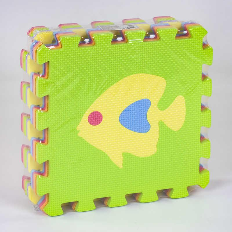 Коврик-пазл EVA С 36602 Рыбки (24) массажный, 9 эл. в упаковке, 30х30см