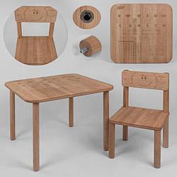 "Гр Столик + стілець ""Happy Математика"" 04-AM1-2 (1). столик + 1 стілець/ бук ЕКО"