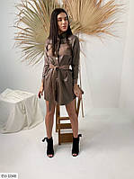 Стильное молодежное однотонное платье из эко-кожи с вельветовыми вставками Размер: S, M, L арт. 169