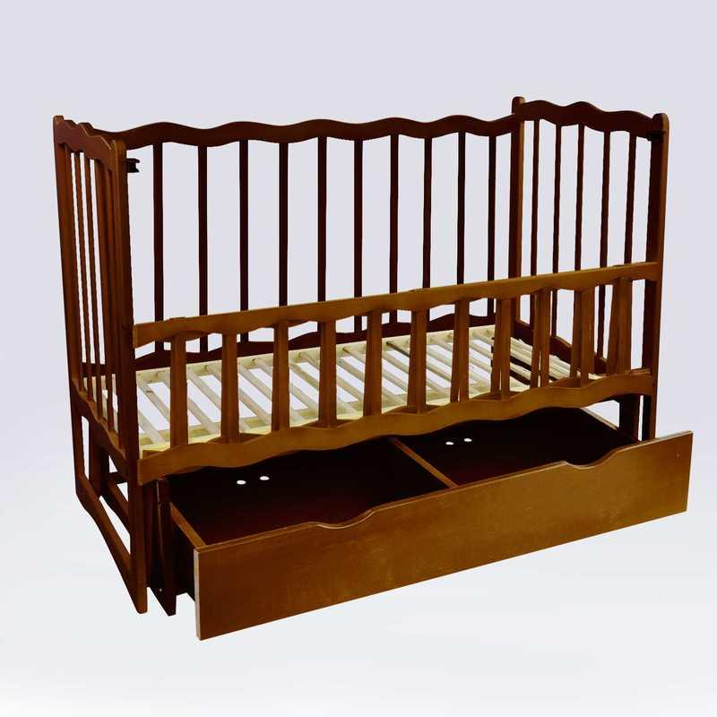 """Гр Кроватка деревян. маятник+шухляда - откидной, """"Волна"""" (1) ольха - цвет тёмно-коричневый"""