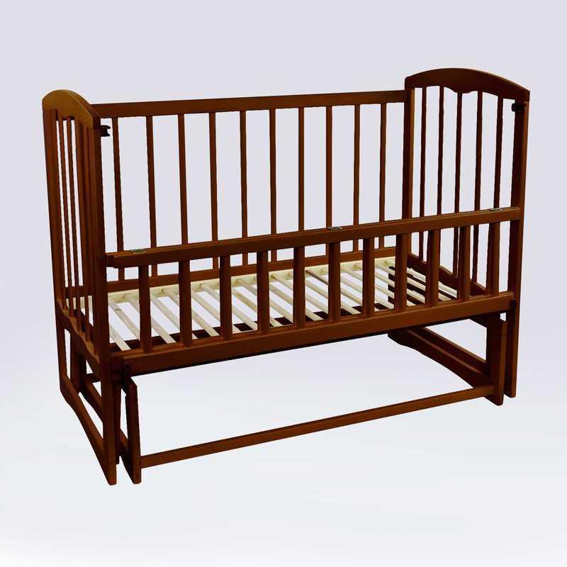 """Гр Ліжечко дитяче """"Спимо"""" маятник, відкидний борт, вільха - колір темно-коричневий"""