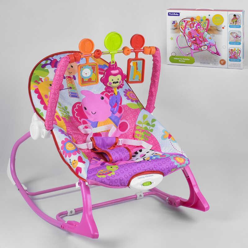 Шезлонг-качалка 8617 (6) 3 игрушки, музыка, вибрация, в коробке