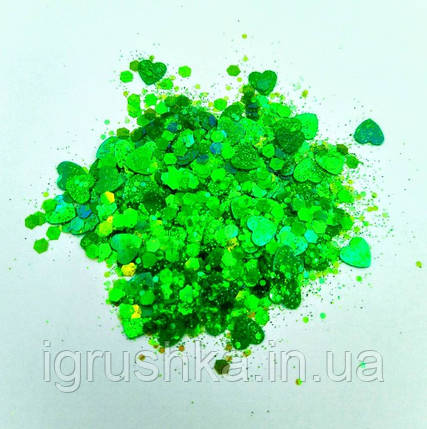 Блестки «Микс» зеленые для слаймов (50507), фото 2