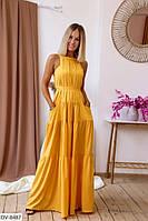Красивое легкое шелковое приталенное платье в пол с открытыми плечами  Размер: 42-46 арт. 1065
