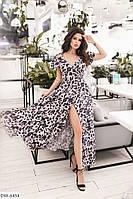 Легкое нарядное расклешенное летящее принтованное платье в пол на запах Размер: 42-46 арт. 216