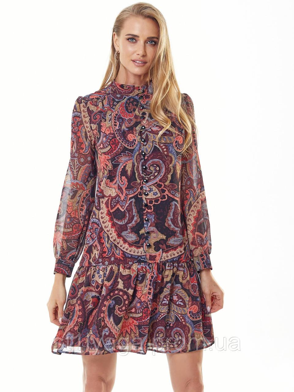 Шифонове плаття з принтом і воланом по низу