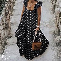 Женское красивое длинное платье в горох размер 42 44 46 48 50 52