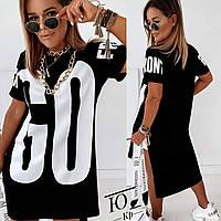 Женское модное платье футболка с принтом 42 44 46 48 50 52