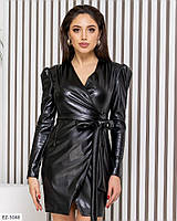 Трендовое молодежное стрейчевое платье из эко-кожи на запах род пояс Размер: 42-44, 46-48 арт. 020