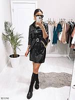 Модное молодежное лаковое платье-рубашка из эко-кожи под пояс Размер: 42-44, 44-46 арт. 0327