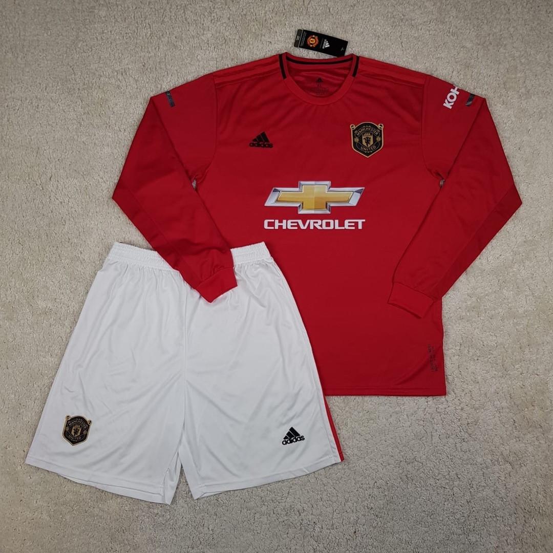 Детская футбольная форма с длинным рукавом Манчестер Юнайтед ( Англия, Премьер Лига ), домашняя, сезон 19-20