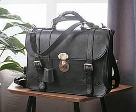 """Стильный мужской кожаный портфель с плечевым ремнем """"Nelson Black"""" (брифкейс)"""