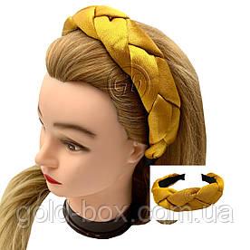 Обідок-чалма для волосся кіска гірчична