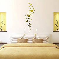 Наклейка бабочки декоративная зеркальная золото 30 штук в упаковке