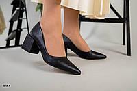 Туфлі шкіряні Човник чорна рептилія на зручному каблуці, фото 1