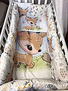 """Набір постільної білизни в дитячу ліжечко/ манеж """"Оленя"""" - Бортики / Захист в ліжечко"""