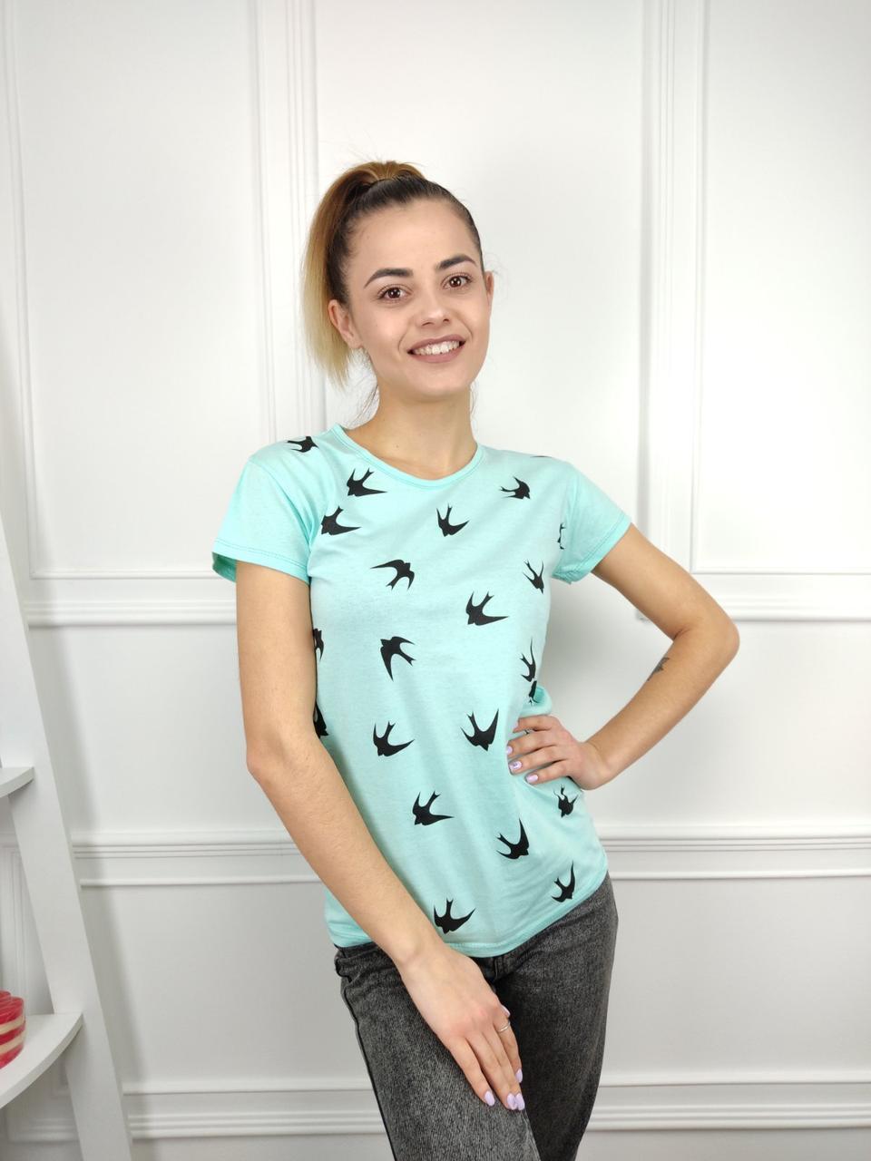 Жіноча футболка, С,М,Л (44,46,48) рр, птиці, блакитний