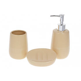 Набор для ванной комнаты 3 предмета Sand (дозатор, стакан, мыльница) BonaDi 851-299