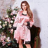 Женский красивый шелковый пижамный комплект в больших размерах 48 50 52 54 56 58 60 62