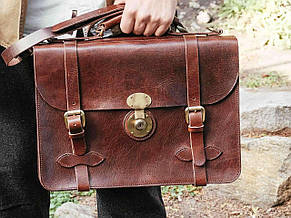 """Стильный мужской кожаный портфель с плечевым ремнем """"Nelson Brown"""" (брифкейс)"""