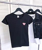 Футболка женская приталенная Soul черная   Женская футболка летняя хлопковая ЛЮКС качества