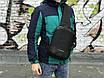 Якісна сумка мессенджер через плече чоловіча чорна, фото 2