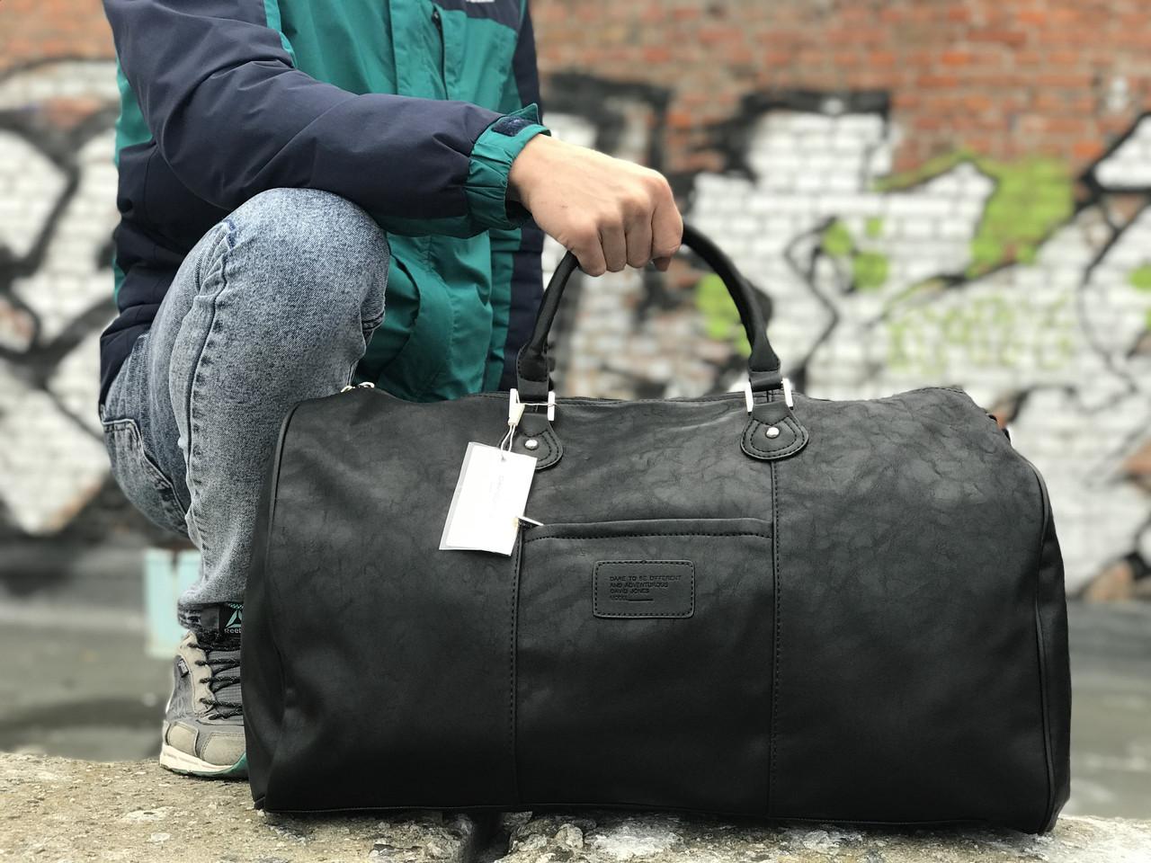 Чоловіча чорна сумка з натуральної шкіри David Jones