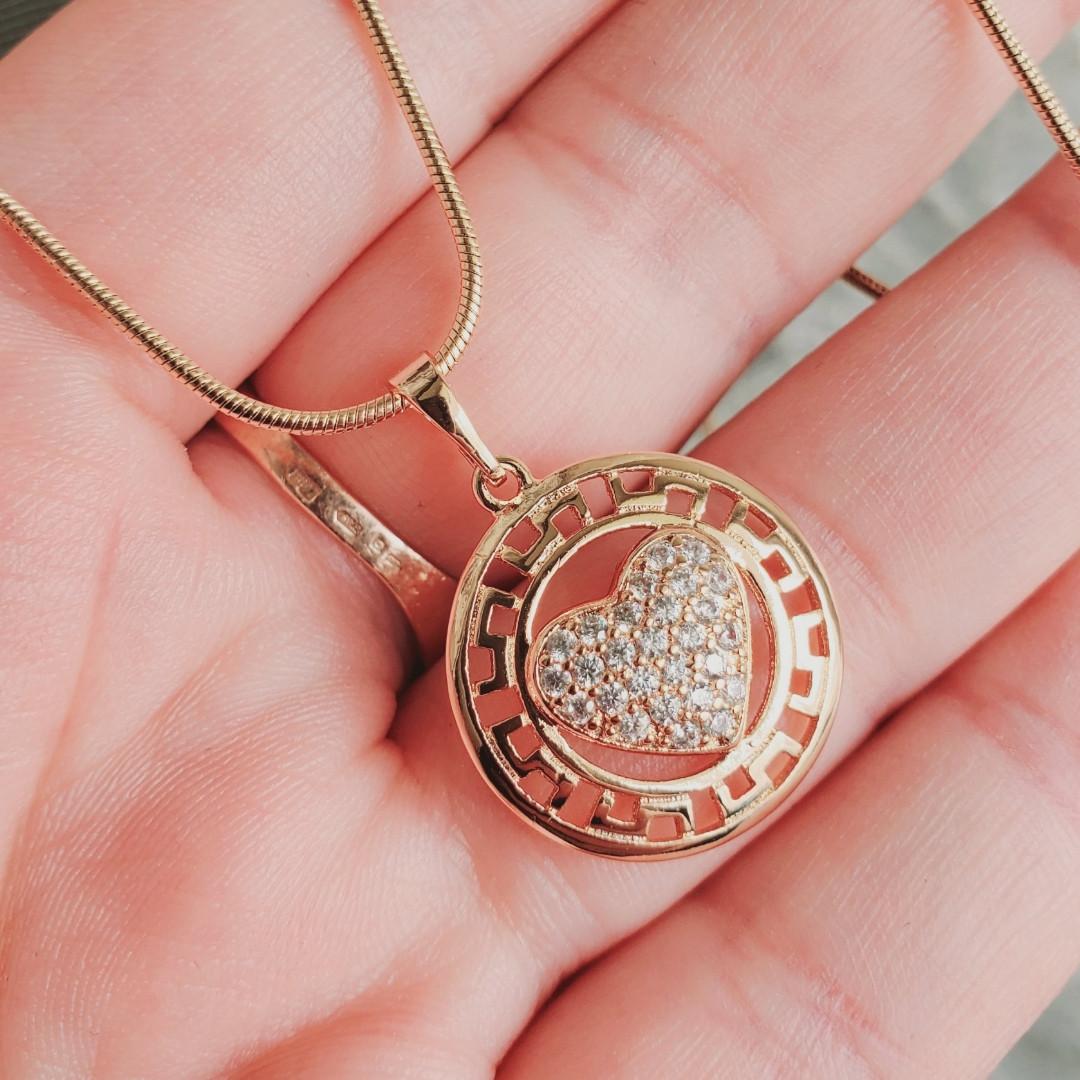 Кулон з серцем з ланцюжком снейк 1мм 50см xuping медичне золото позолота 18К  5335