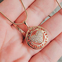 Кулон с сердцем с цепочкой снейк 1мм 50см xuping медицинское золото позолота 18К  5335