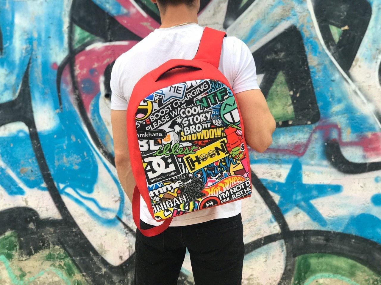 Різнокольоровий чоловічий рюкзак для спорту та школи (Прінт)