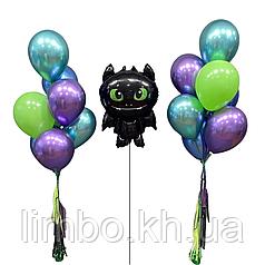 Шары гелиевые на день рождения и фигура беззубик
