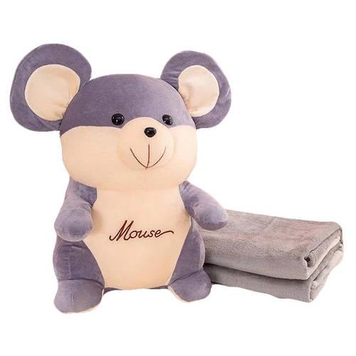 Детский плюшевый плед игрушка-подушка 3-в-1 Sofi Soft Мышка Серый