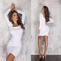 Шикарное однотонное облегающее вечернее платье с объемными плечами  Размер: 42-44, 46-48 арт: 6076