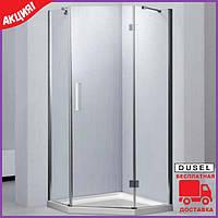 Пятиугольная душевая кабина 90х90 см дверь распашная Dusel А-715 стекло прозрачное