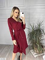 Стильное однотонное вечернее платье на запах из костюмной ткани под пояс Размер: 42-46 арт: 026