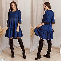 Красивое однотонное ассиметричное платье свободного кроя с завышенной талией Размер: 42-44, 44-46 арт: 162