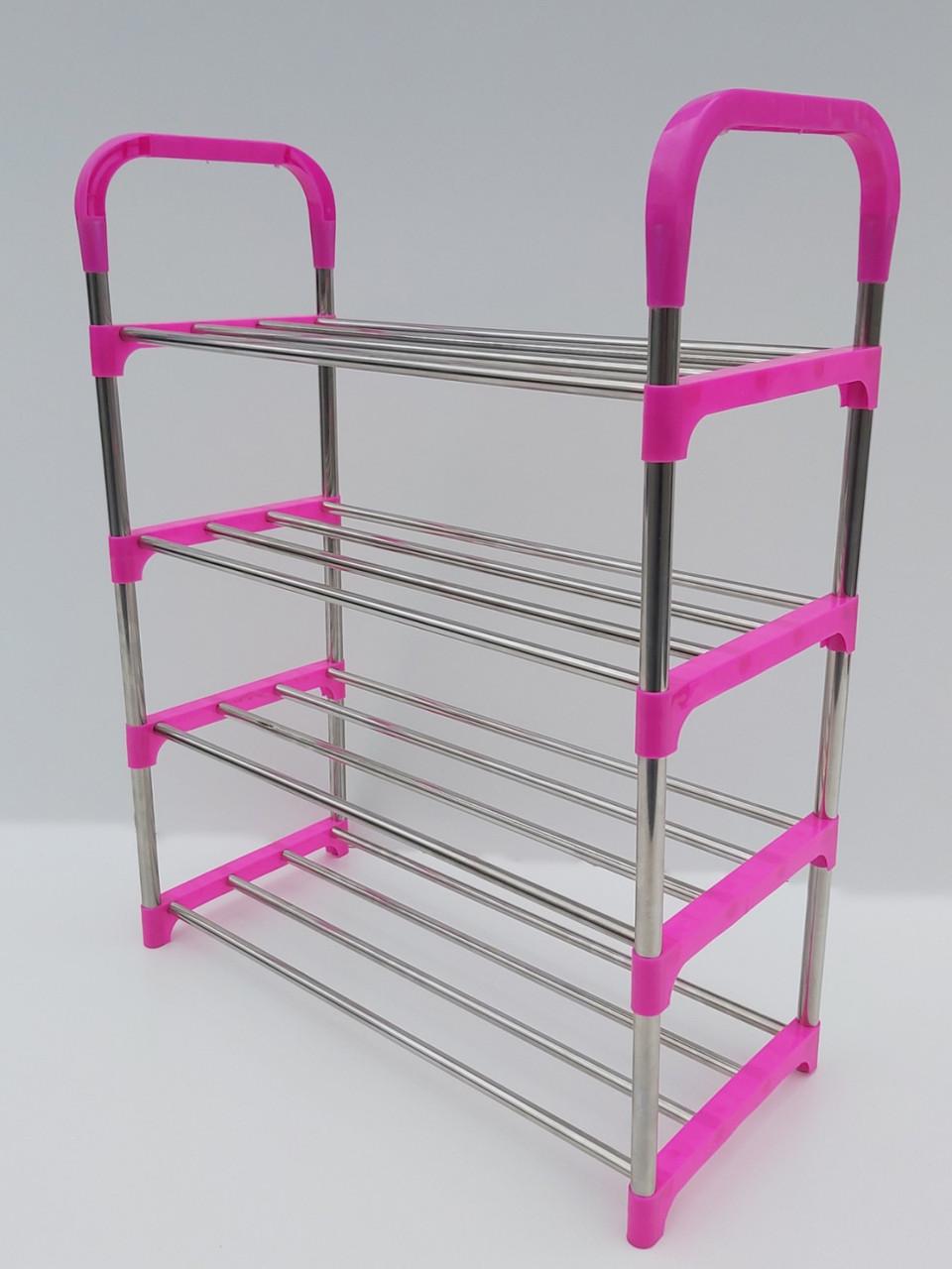 Ш 52*Г 23,5*В 65,5 см. Полка для обуви розового цвета на 4 яруса.