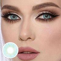 Цветные контактные линзы Голубой + Бежевый