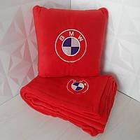 Набір: Автомобільна подушка + плед з вишивкою логотипу BMW