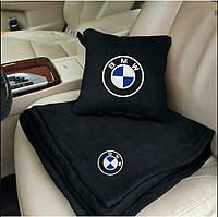 Набор: Автомобильная подушка + плед  с вышивкой логотипа BMW