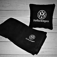 Набір: Автомобільна подушка + плед з вишивкою логотипу Volkswagen