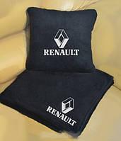 """Набір: Автомобільний плед + подушка з вишивкою логотипу """"Renault"""""""