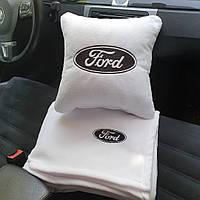 """Набір: Автомобільна подушка + плед з вишивкою логотипу """"Ford"""""""