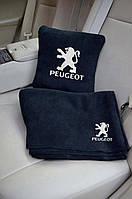 """Набір: Автомобільна подушка + плед з вишивкою логотипу """"Peugeot"""""""